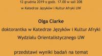 Kolejne Seminarium Afrykanistyczneodbędzie się 12 grudnia ogodzinie 17.00 wKatedrze Języków iKultur Afryki UW.Olga Clarke, doktorantka KJiKA przedstawi studium etnograficzne natemat zachodnioafrykańskiej mody wWarszawie.
